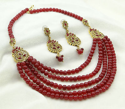 Traditional Ethnic Rani Haar Indian Wedding Party Strand Necklace Set Jewelry