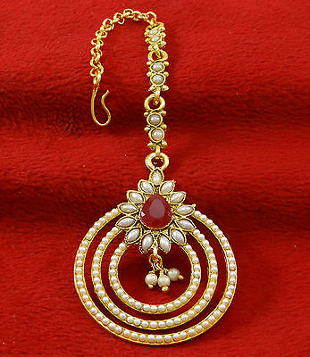 Indian Traditional Goldtone Women Wedding Maang Tikka Designer Forehead Jewelry