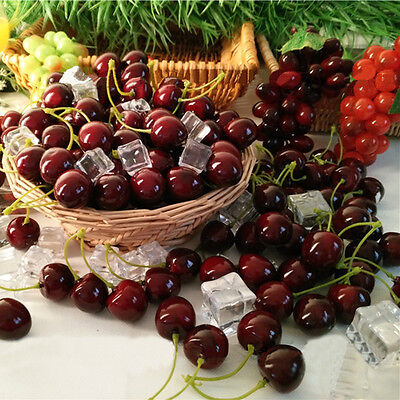 20pairs Artificial Fake Red Fruit Cherry Home Table Decorative Fruit Cherry Foam