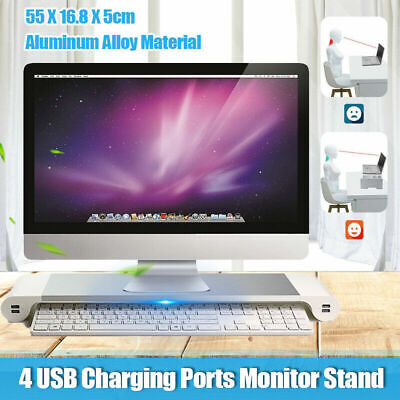 Aluminum Computer Laptop Monitor Stand LCD Screen Riser 4USB Ports For PC iMac