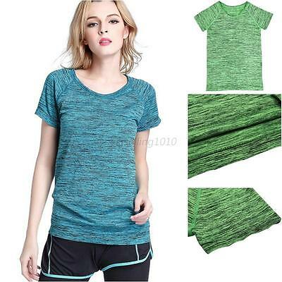 Womens Sports Shirt Gym Yoga Fitness Top Running T-Shirt Quick Dry Breathable
