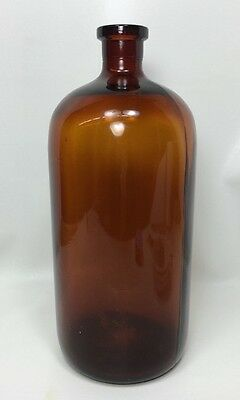 "Large Amber Apothecary Bottle - Vintage / Antique - 13-1/4"" Tall"