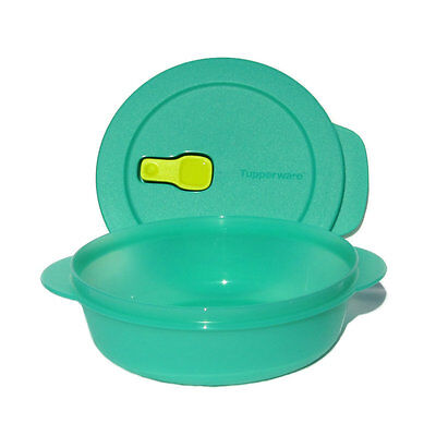 Tupperware Crystalwave Ezywave 1 litre Bowl Vent Rock Jade Green Yello Microwave