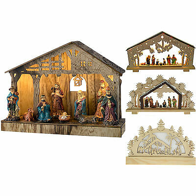 Pre-Lit Christmas Nativity Scene Decoration Illuminated - Choose Design