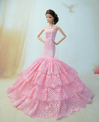 Purple Fashion Royalty Party Dress//Wedding Clothes//Gown+hat For 11.5in.Doll F88