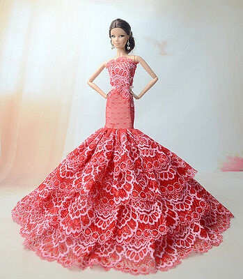 Royalty Mermaid Dress Party Dress/Clothes Gown For Barbie Doll S203u