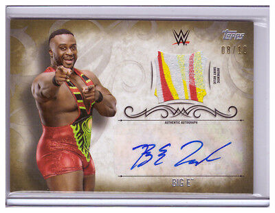 2016 Topps WWE Undisputed Auto BIG E 3Color Shirt Relic AUTOGRAPH 08/10 Gold SP