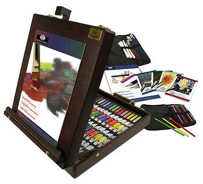 102 Piece Art Easel Artist Set Oil Acrylic Watercolour Paints Pencils Brushes