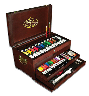 PREMIER PAINTING CHEST SET ARTIST ART 80pc OIL ACRYLIC WATERCOLOUR PAINT PENCIL