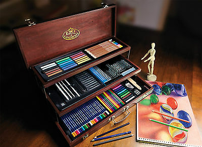 134 Pc Premier Artist Sketching Pencil Colour Drawing Media Wooden Chest Set 810