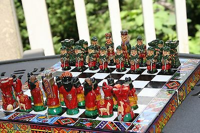 Chess Set . South America/ Peruvian Hand painted