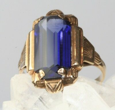 Vtg Art Deco 1930's To 1940's 14K Gold Tall Blue Glass Simulated Sapphire Ring