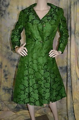 vtg 40s 50s EMERALD GREEN silk brocade DRESS and COAT and BRACELET by HELGA  S