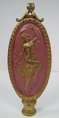Antique Art Nouveau Finial partially nude dancing lady nymph brass gold pink