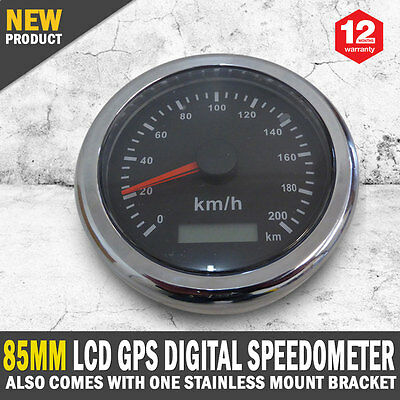 New 85MM LCD Digital Speedo Stainless Bezel Includes GPS Antenna
