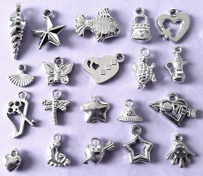 Bulk Lot of 20 Mixed Acrylic Silver Colour Charm Pendants New Free Post