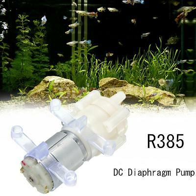 Aquarium Fish Round Water Air Diaphragm Pump Pompe DC12V R385 + Boucle Silicone