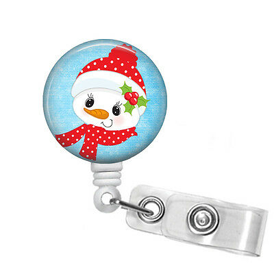 Badge Reel Christmas Snowman with Scarf Retractable RN Badge Holder Steth Tag