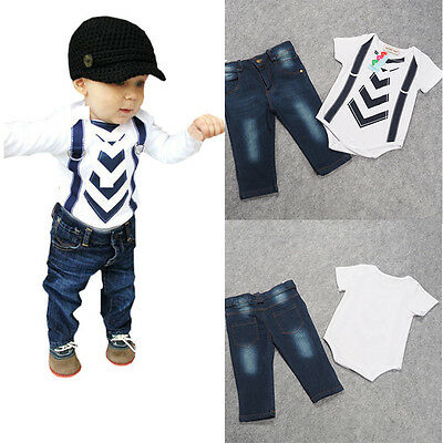 2PCS Kids Baby Boys Short Sleeve Striped Tops T-shirt +Pants Set Clothes Outfit