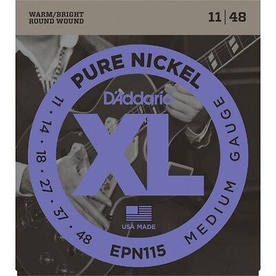 D'addario EPN115 Pure Nickel Blues Jazz 11-48 - Jeu de cordes guitare électrique