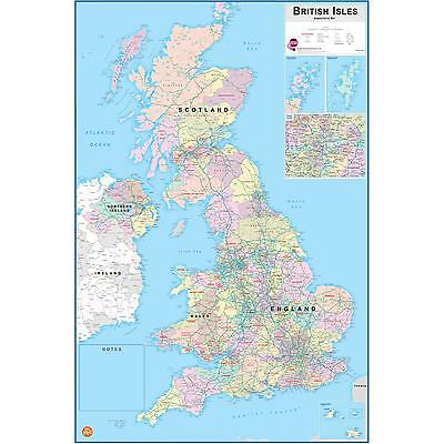 British Isles Map Self-Ad Laminated + Dry Erase Pen (FREE P+P) UK Sticker New
