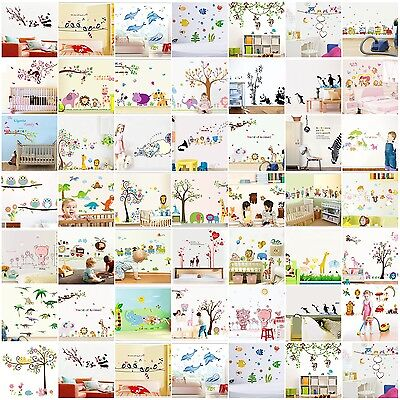 Wall Stickers Owl animal zoo Jungle mural kids nursery baby room bird tree decor