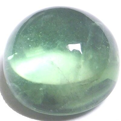 NATURAL PRETTY LIGHT GREEN FLUORITE GEMSTONES (14.8 mm) LARGE ROUND CABOCHON
