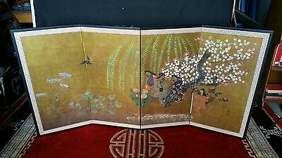 Antique 1900's Byobu Signed Japanese Screen Painting on Silk 4 Panel