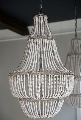 """42"""" Antique French Empire Bead Crystal  Anthropologie Style Chandelier New XL"""