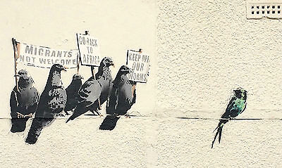 Home Wall Print - Street Art BANKSY Poster - IMMIGRATION BIRDS - A4, A3, A2, A1