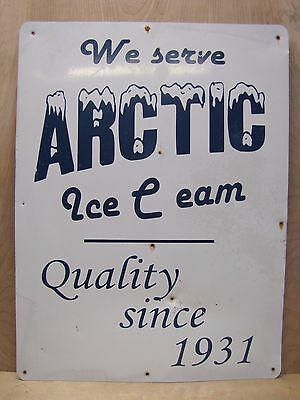 Vintage ARTIC Ice Cream Advertising Sign 'Quality since 1931' ice cream shoppe
