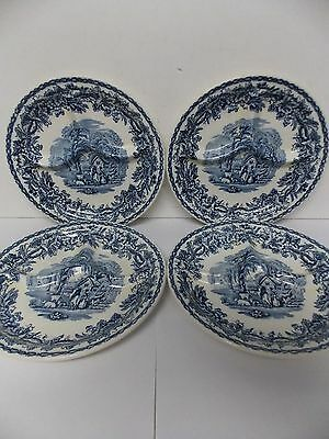 British Scenery Booths Ceylon Ivory Flow Blue Divided Grill Plates S/4 England