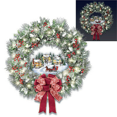 Home For the Holidays Christmas Wreath Thomas Kinkade Bradford Exchange