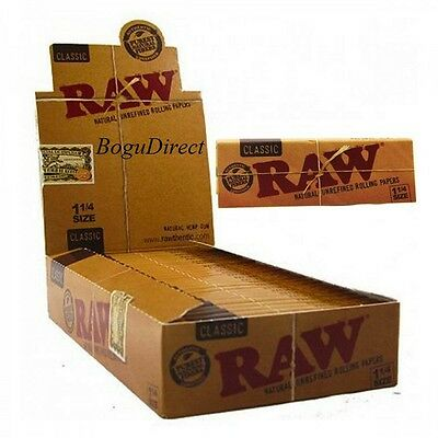 RAW CLASSIC ROLLING PAPER 1 1/4 FULL BOX of 24 PACKS NATURAL HEMP Cigarette Roll