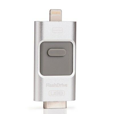 Silver USB i-Flash Drive Micro SD/TF Memory Card Reader Adapter iPhone Android