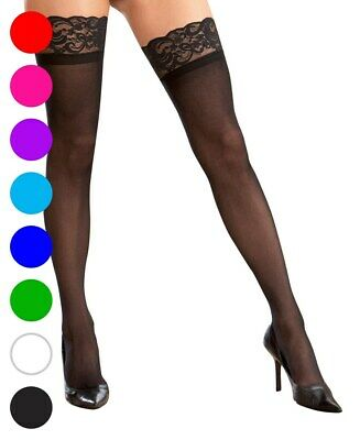 Plus Size Stay Up Silicone Lace Top Thigh High Stockings - Dreamgirl 7030X