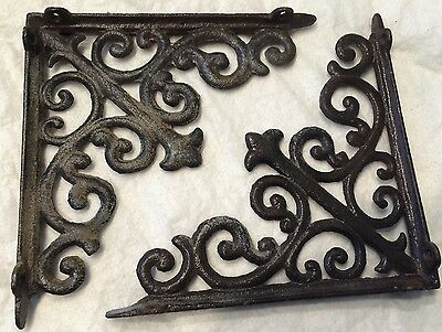 "(2) Vintage Cast Iron Brackets, Right Angle, 7-7/8"", Excellent Condition!"