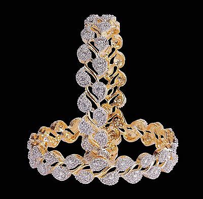 Gold Plated Ethnic Bollywood Cubic zircon Indian Bridal Bangles Bracelet Set