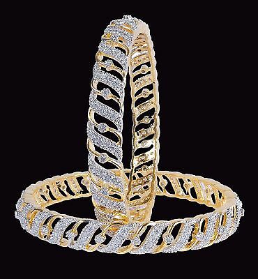 Gold Plated Ethnic Bollywood Cubic zircon Indian Bangles Bracelet Set Jewelry