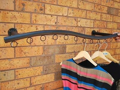Iron Wall Mounted Curvy Clothes Rack Hanger Display Fashion Shop BLK002