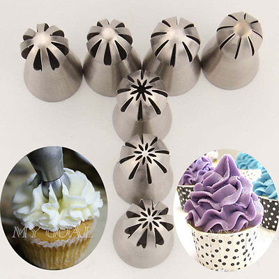 7PCS Russian Flower Cake Decorating Icing Piping Nozzles Pastry Tips Baking Tool