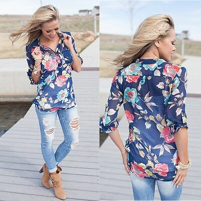 Women Ladies Casual Long Sleeve Blouse Sheer Summer Floral Shirt Tops T-shirt