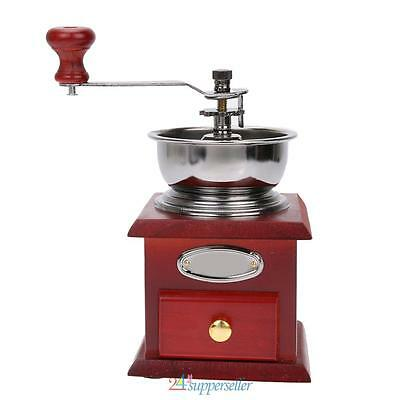 Mini Hand Coffee Bean Grinder Kitchen Wood Stand Bowl Manual Coffee Mill Antique