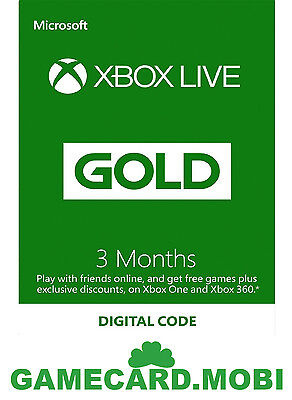 3 Month Microsoft XBOX 360 LIVE GOLD Membership Card/Xbox 3 MONTHS Xbox One Code