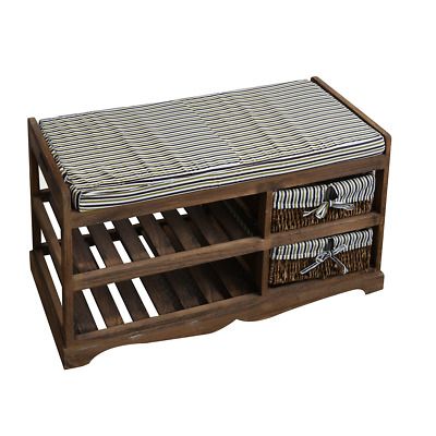 Bench Storage Shoes Rack 2 Baskets Wood Wicker Brown Rustic Hall Entrance
