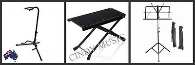 Guitar Stand + Folding Adjustable Music Sheet Stand + Guitarists Footstool NEW