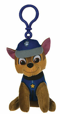 "New Official 4"" Paw Patrol Chase Pup Plush Soft Toy Bag Clip Nickelodeon Dogs"