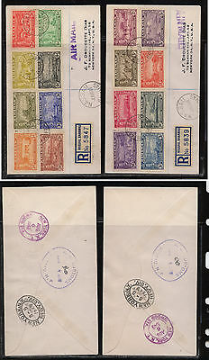 Bahamas  132-147 set on 2 registered covers to  US   1949     MS0920