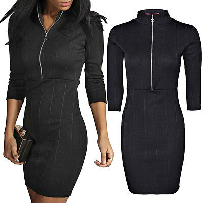 Womens Ladies Front Zip Turtle Polo Neck Ribbed Mini Bodycon Dress Stretch