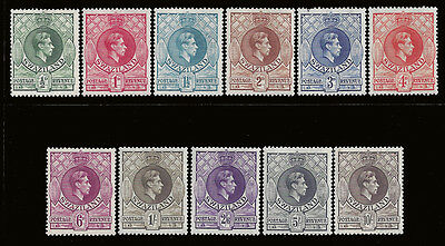 Swaziland Stamps 1938-1954 1/2d-10sh KGVI Set (SG28a-38a) M £95